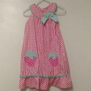 White & Pink Gingham Strawberry Dress